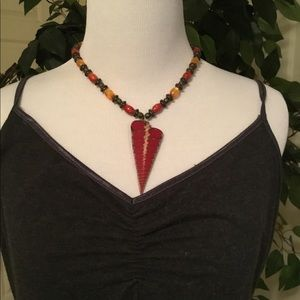 Red and Gold Arrowhead Necklace
